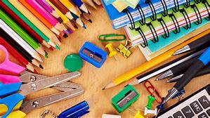 Picture of assorted school supplies.