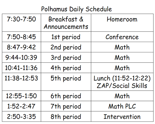 Polhamus Daily Schedule