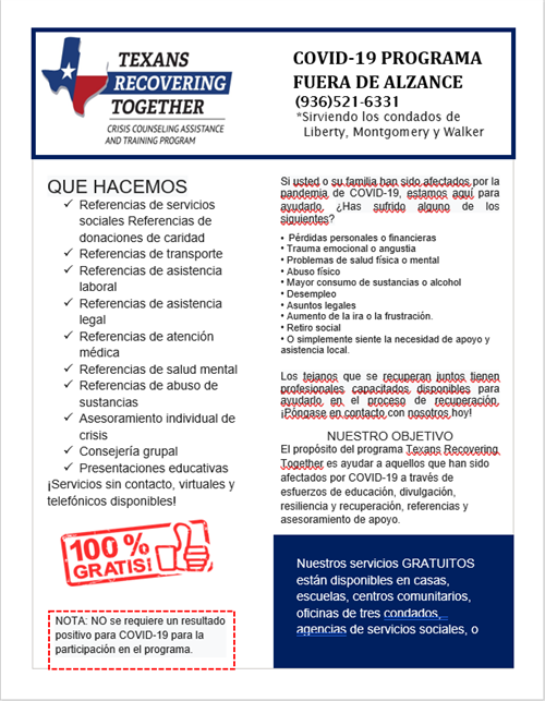 Spanish Flyer for Covid 19 Outreach Program