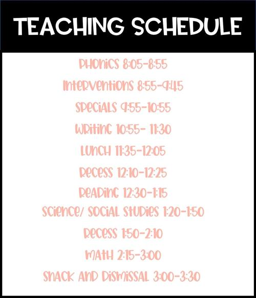 Daily Teaching Schedule