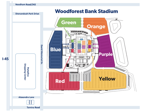 color coded parking lot map of stadium