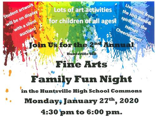 event flier for January 27, 2020  Fine Arts Family Fun Night with paint splatter design