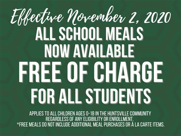 free meals now available to all students effective November 2, 2020