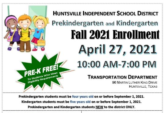 prek and kindergarten round-up early registration event flyer for April 27, 2021