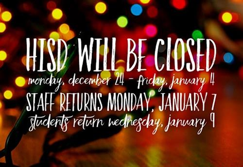 Holiday Closure Dates December 24 thru January 4