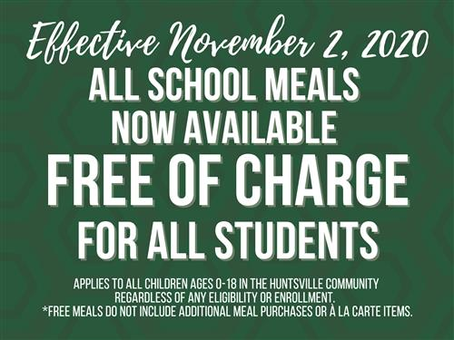 effective november 2, 2020 all school meals offered free of charge for all students.