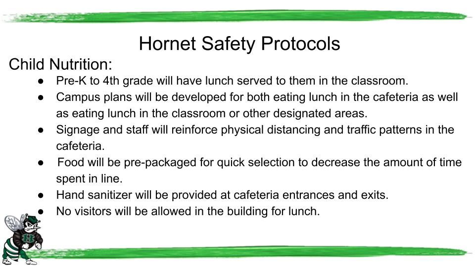 This is a page from the Hornet Return to School Plan for child nutrition.
