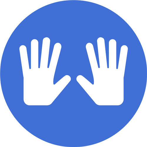 blue circle with 2 hands inside for lockout symbol