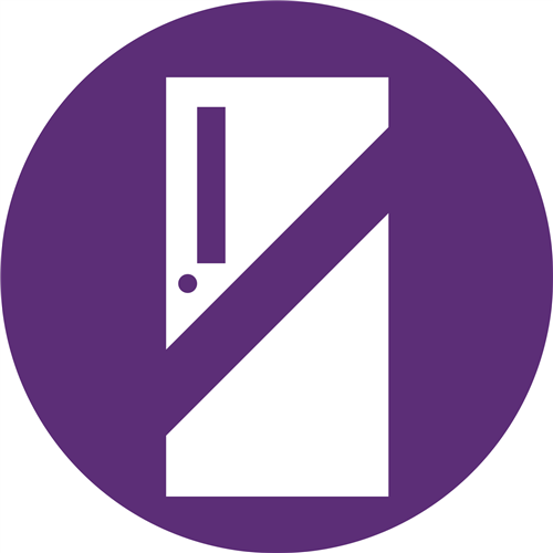 purple circle with white door with line thru it for hold icon