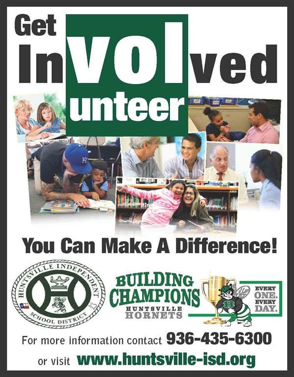 ad promoting volunteering in Huntsville ISD