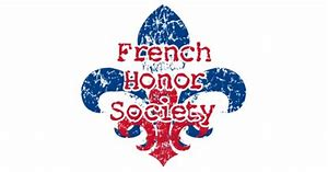 French Honor Society wording on a red and blue fleu de lis
